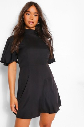 boohoo High Neck Flutter Sleeve Skater Dress