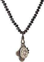 Miracle Icons Men's Onyx Rondelle & Triple-Pendant Necklace-BLACK