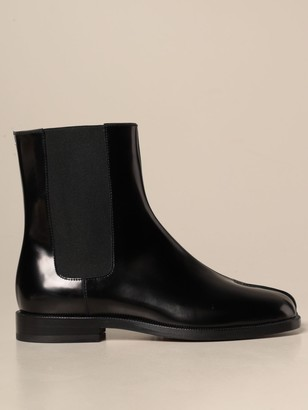 Maison Margiela Boots In Brushed Leather With Tabi Toe