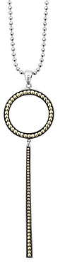 Lagos Sterling Silver & 18K Yellow Gold Enso Linear Circle Pendant Necklace, 18