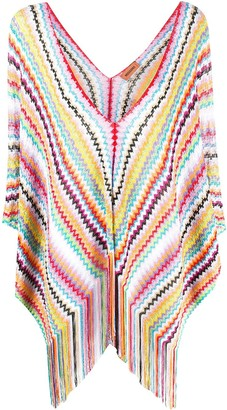 Missoni Fringed Fine Knit Poncho