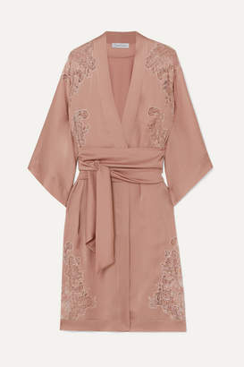 Carine Gilson Egérie Chantilly Lace-trimmed Silk-satin Robe - Antique rose