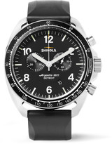 Shinola The Rambler Tachymeter Chronograph 44mm Stainless Steel And Rubber Watch - Black