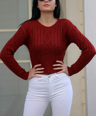 Misell Women's Pullover Sweaters TILE - Tile Cable Knit Wool-Blend Crop Sweater - Women