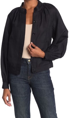Frame Shirred Raglan Bomber Jacket
