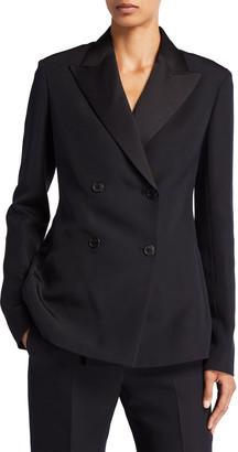 The Row Zori Wool-Silk Double-Breasted Blazer Jacket