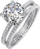 Lafonn Micro Pave Round Center Simulated Diamond Wedding Ring Set