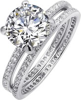Lafonn Platinum Plated Sterling Silver Micro Pave Simulated Diamonds Round Center 2-Piece Set Ring