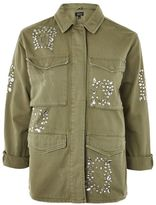 Petite crystal embroidered shacket