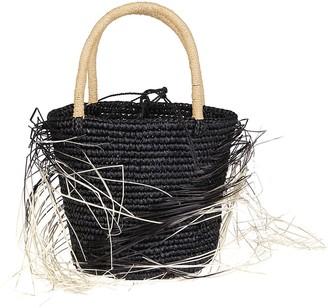 Sensi Black Straw Bag