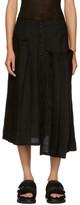 Y's Black Asymmetric Pleated Skirt