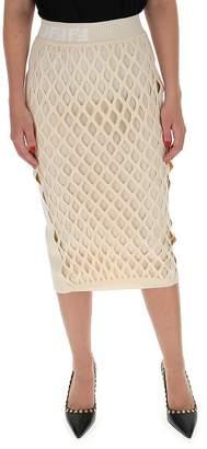 Fendi Logo Waist Midi Skirt