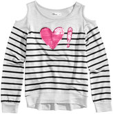 Epic Threads Hero Kids by Sequin-Graphic Cold-Shoulder Striped Sweatshirt, Big Girls (7-16), Created for Macy's