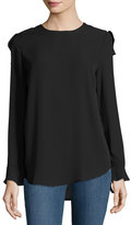 Elliatt Venture Top with Ruffle Trim, Black