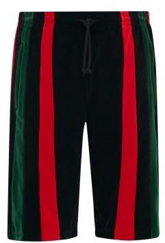 Gucci Felpa Striped-chenille Shorts - Black