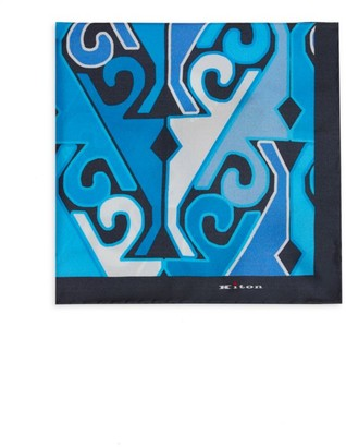 Kiton Geometric Silk Pocket Square