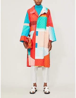 Issey Miyake Loose-fit geometric-print woven coat