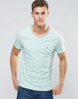 Tommy Hilfiger T-shirt With Rolled Neck In Green In Regular Fit