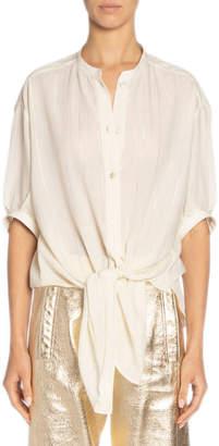 Saint Laurent Metallic Stripe Oversized Short-Sleeve Button-Down Shirt