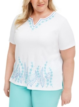 Alfred Dunner Plus Size Sea You There Embroidered Top