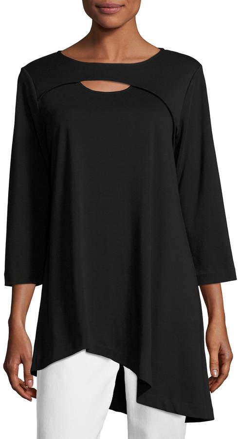 Joan Vass Petite 3/4-Sleeve Cutout Asymmetric Easy Tunic