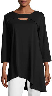 Joan Vass Petite 3/4-Sleeve Cutout Asymmetric Easy Tunic