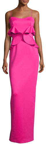 Black Halo Delray Sleeveless Ruffle Scuba Gown, Iconic Pink