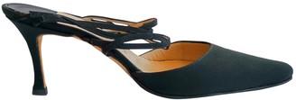 Manolo Blahnik Black Cloth Mules & Clogs