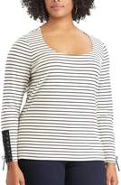 Chaps Plus Size Lace-Up Sleeve Scoopneck Tee