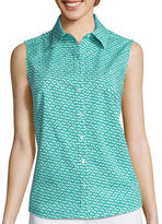 Liz Claiborne Sleeveless Button-Front Shirt