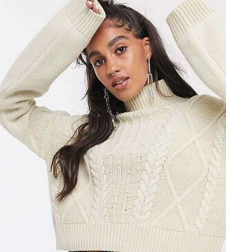Reclaimed Vintage inspired cropped cable knit jumper-Cream
