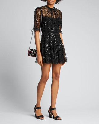 Jonathan Simkhai Sequined Lace Short-Sleeve Mini Dress