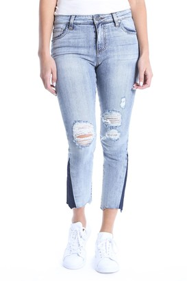 KUT from the Kloth Reese Dark Flare Inset Straight Leg Ankle Jeans