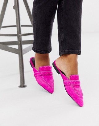 ASOS DESIGN Maximum studded leather pointed mule in neon pink