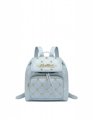 Love Moschino Quilted Backpack With Studs Woman Blue Size U It - (one Size Us)