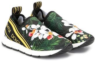 Dolce & Gabbana Kids Floral Print Logo Trainers