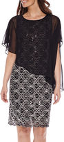 Ronni Nicole Sleeveless Lace Cape Dress