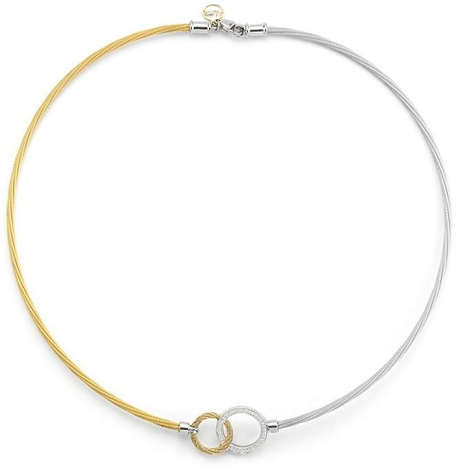 """Alor Two-Tone Hook Necklace, 18"""""""