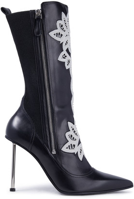 Alexander McQueen Crocheted Lace-trimmed Leather Ankle Boots