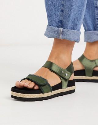ASOS DESIGN Jitter chunky sporty espadrille sandals in khaki