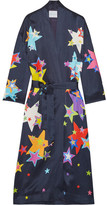 Mira Mikati Printed Satin Coat - Navy
