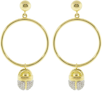 Pamela Love Pave White Diamond Scarab Hoop Earrings
