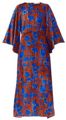La DoubleJ Sorella Floral-print Velvet Dress - Burgundy Multi
