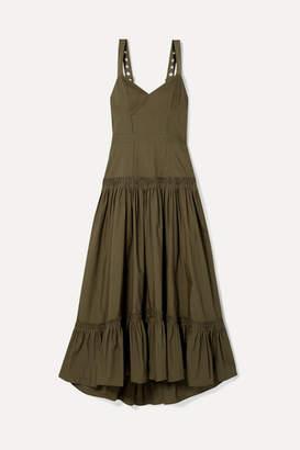 Proenza Schouler Tiered Poplin Maxi Dress - Army green