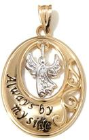 Michael Anthony Jewelry 10K Gold Diamond-Accented 2-Tone Guardian Angel Oval Pendant