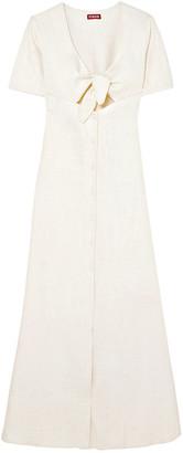 STAUD Maya Tie-front Linen-blend Maxi Dress