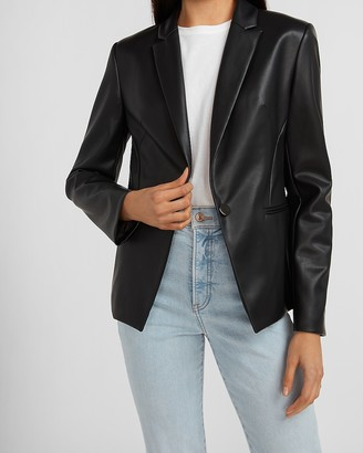 Express Vegan Leather One Button Blazer