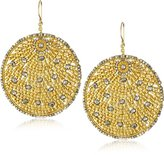 Miguel Ases Pyrite Quartz and Swarovski Gold Beaded Round Earrings
