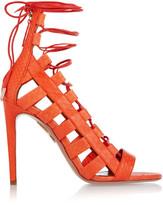 Aquazzura Amazon Lace-up Elaphe Sandals - Bright orange