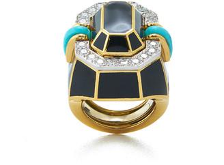David Webb Facet Turquoise and Diamond Black Enamel Ring, Size 6.25